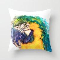 parrot Throw Pillows featuring Parrot by jbjart