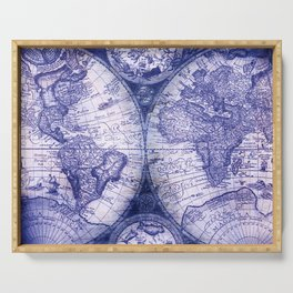 World Map Antique Vintage Navy Blue Serving Tray