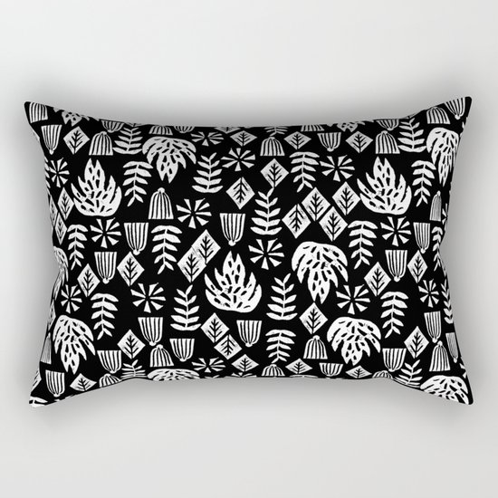 Tropical linocut tribal island pattern scandinavian art print black and white minimal ...