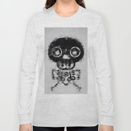 psychedelic skull and bone art geometric triangle abstract pattern in black and white Long Sleeve T-shirt