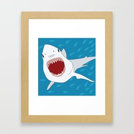 Shark Attack Underwater With Fish Swimming In The Background Framed Art Print