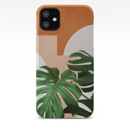 Abstract shapes art, Tropical leaves, Plant, Mid century modern art iPhone Case