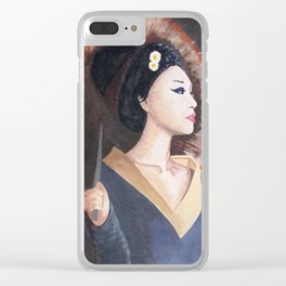 Geisha Girl with Parasol Clear iPhone Case