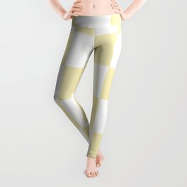 Large Checkered - White and Blond Yellow Leggings