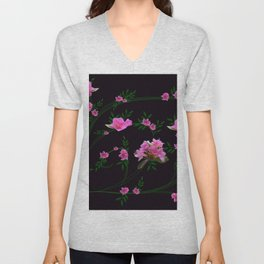 Pink flower clipping Unisex V-Neck