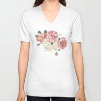 wwe V-neck T-shirts featuring Watercolor rose by eARTh