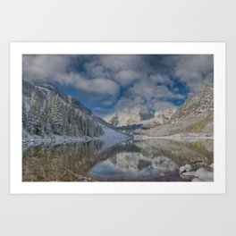 Maroon Bells Reflection In The Maroon Lake With Fresh Snow Aspen Colorado Usa for #society6 Art Print