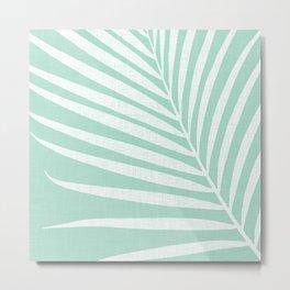 Minimalist Palm Leaf - Mint Green Metal Print