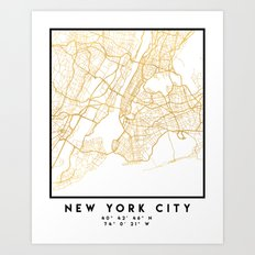 NEW YORK CITY NEW YORK CITY STREET MAP ART Art Print
