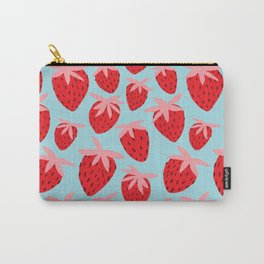 Strawberries on Blue Carry-All Pouch