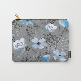 Blue Watercolor Floral Carry-All Pouch