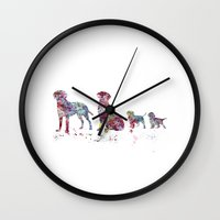 labrador Wall Clocks featuring Labrador family by Watercolorist