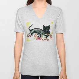 Coffee, Orchid and Black Cat Vintage Style Large Format XXL Unisex V-Neck