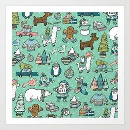 Christmas Time, Christmas Critter, Aqua Blue, Holly Jolly Holiday Pattern Art Print