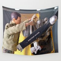 airplane Wall Tapestries featuring Airplane Mechanic by Frankie Cat