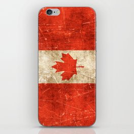 Vintage Aged and Scratched Canadian Flag iPhone Skin