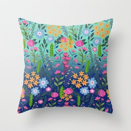 Blue Mint Gradient Garden Flowers Pretty Design Throw Pillow