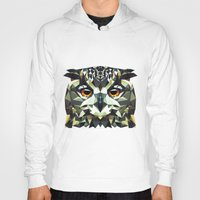 polygon Hoodies featuring Polygon Owl by Andrew Mason