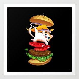 Hamburger Cat Art Print