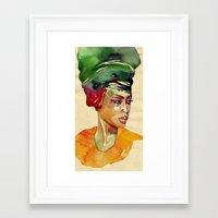 erykah badu Framed Art Prints featuring Erykah by stefana