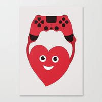 gaming Canvas Prints featuring Gaming Heart by Boriana Giormova