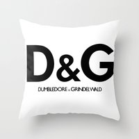 dumbledore Throw Pillows featuring Dumbledore & Grindelwald by Christina
