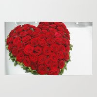 mercedes Area & Throw Rugs featuring Heart of red roses by Premium