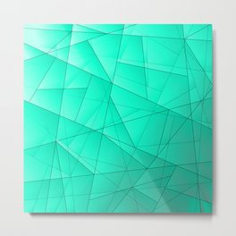 Glowing contrasting celestial fragments of crystals on triangles of irregular shape. Metal Print