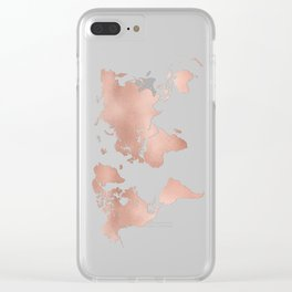 Rose Gold World Map Clear iPhone Case