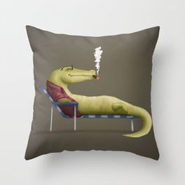Chilled Croc Throw Pillow