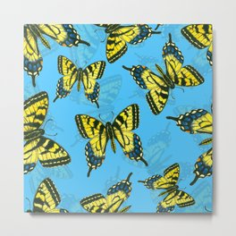 Tiger swallowtail butterfly watercolor pattern blue Metal Print