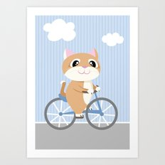 Mobile series bicycle cat Art Print
