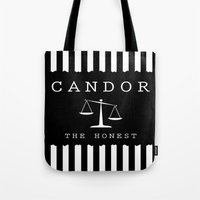 divergent Tote Bags featuring CANDOR - DIVERGENT by MarcoMellark