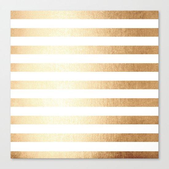 Simply Striped Golden Copper Sun Canvas Print