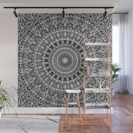 Grey Lace Ornament Mandala Wall Mural
