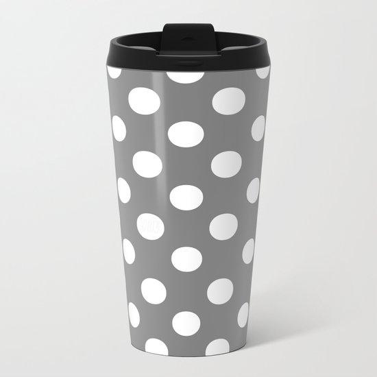 Polka Dots (White/Gray) Metal Travel Mug