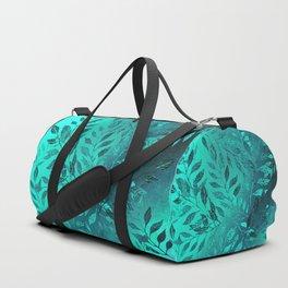 Monochrome Leaf Arrangement (Teal) Duffle Bag