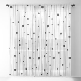 Squares and Vertical Stripes - White and Black - Hanging Sheer Curtain