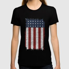 USA American Flag Rustic Jute Style 4th July Decor T-shirt