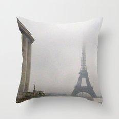 Eiffel Tower in Rain and Fog Throw Pillow