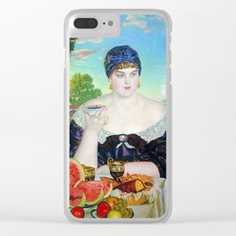 MERCHANT'S WIFE AT TEA - BORIS KUSTODIEV Clear iPhone Case