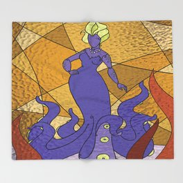 The Octo Mermaid (Royal) Throw Blanket