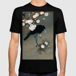 Vintage Japanese Crow and Blossom Woodblock Print T-shirt