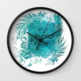 And So The Adventure Begins Motivational Typography Art Wall Clock