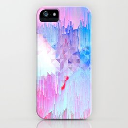 Abstract Candy Glitch - Pink, Blue and Ultra violet #abstractart #glitch iPhone Case