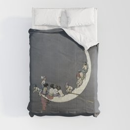 """"""" Moon's First Voyage"""" Fairy Art by W Heath Robinson Comforters"""