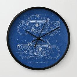 Motorcycle blueprint Wall Clock
