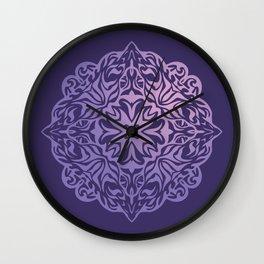 Polynesian style tattoo mandala purple Wall Clock