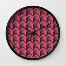 Pink, Grey, Green Abstract Pattern Wall Clock
