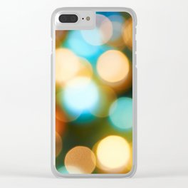 Abstract holiday Christmas background with blue and yellow Clear iPhone Case
